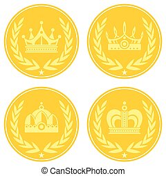 Yellow coin icons with crown on white background