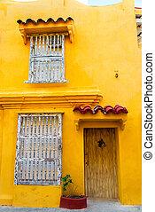 Yellow Colonial Facade