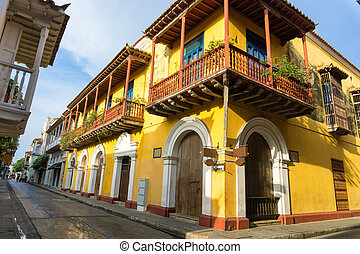 Yellow Colonial Street Corner - Yellow colonial street...