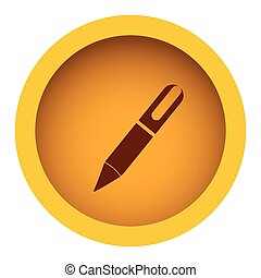 yellow color circular frame with silhouette pen icon