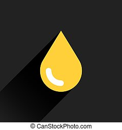 Yellow color drop icon with black long shadow