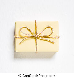Yellow color gift box on white background