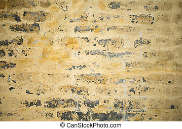 Yellow color Grungy Brick wall texture background