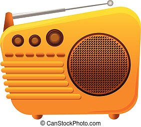 Yellow color radio icon, cartoon style