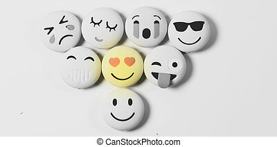 Yellow color various emotions emoji on white background with selected focus on object .