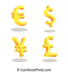 Dollar, Euro, Pound and Yen icons.