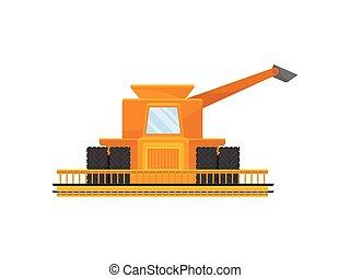 Yellow combine for harvesting grain. Vector illustration on white background.
