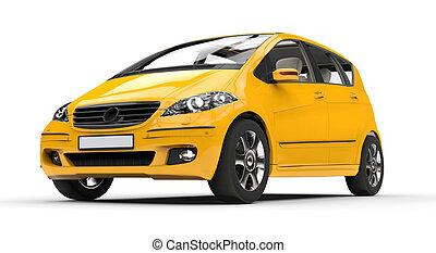 Yellow Compact Car