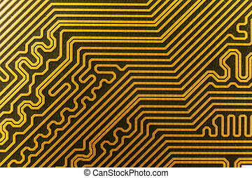 yellow computer circuit board close-up