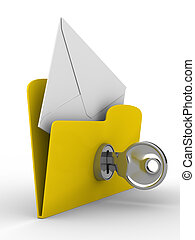 Yellow computer folder with mail on white background. ...