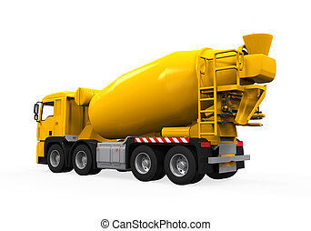 Yellow Concrete Mixer Truck isolated on white background. 3D...