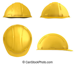 Yellow construction helmet four views isolated on white on...