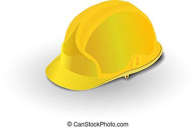 helmet - yellow construction helmet isolated