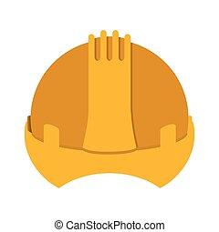yellow construction safety helmet icon vector illustration