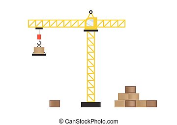 Yellow construction tower crane with crane hook carrying a box