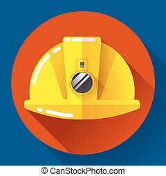 Yellow construction worker helmet with flashlight icon. Flat design style.