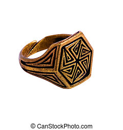 seal-ring with sign of the sun - yellow copper seal-ring ...
