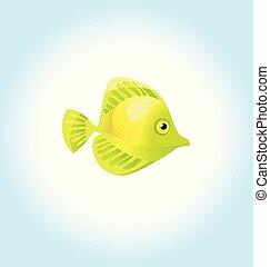 yellow coral fish. vector illustration