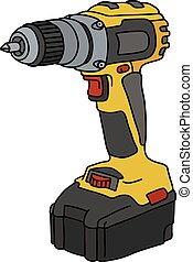 Hand drawing of a yellow cordless screwdriver