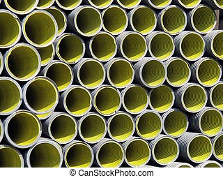 yellow corrugated tube for the laying of ducts - yellow and ...