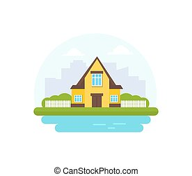 Yellow cottage against the background of the silhouette of the city. Vector illustration.