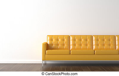 yellow couch on white wall - interior design of yellow couch...