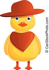 Yellow cowboy duck icon, cartoon style