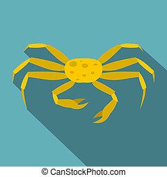 Yellow crab icon, flat style