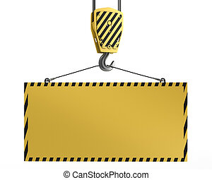 Yellow crane hook lifting blank yellow for design purposes, isolated on white background
