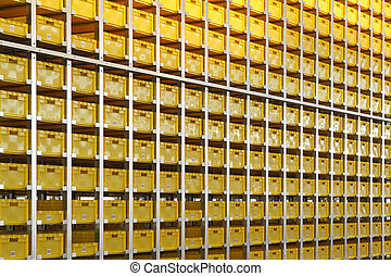 Yellow plastic crates in distribution warehouse