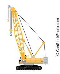 Yellow crawler crane isolated on white background