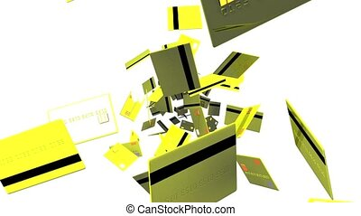 Yellow Credit cards on white background. Loop able 3D render...