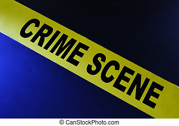 Yellow crime scene tape on blue background