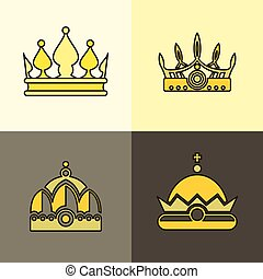 Yellow crown icons on brown background
