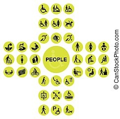 Yellow cruciform disability and people Icon collection