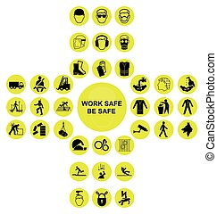 Yellow cruciform health and safety icon collection