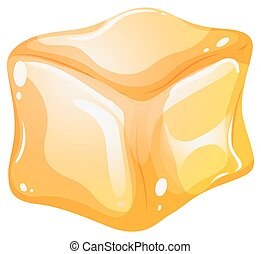 Yellow cube on white background