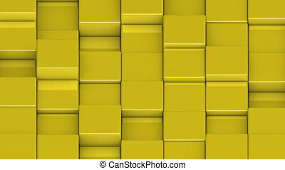 Yellow cubes moving up and down in a random pattern. 3D animated motion background loop. Isometric view.