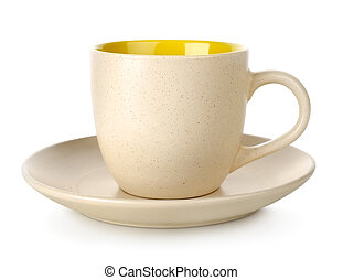 Yellow cup and saucer isolated on white background
