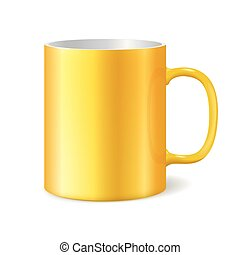 Yellow cup isolated on white background. Blank mug for branding