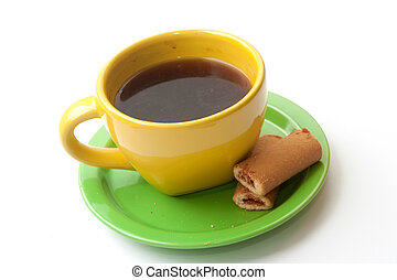 yellow cup of coffee with biscuits