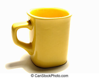 cup - yellow cup on the white