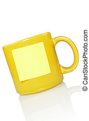 yellow cup with note sticker