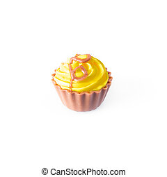 Yellow  cupcake on white background. Chocolate Cake