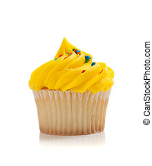 Yellow Cupcake with sprinkles on white