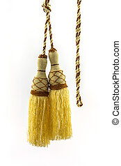 Yellow curtain tassel interior decoration . - Yellow curtain...