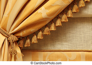 yellow curtains - fragment yellow fringed curtains