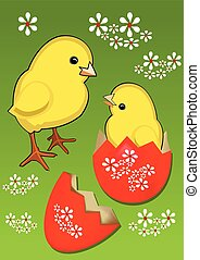 Yellow cute chicks with decorated eggshell on green meadow with white spring flowers, beautiful funny easter theme