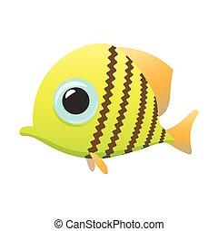 Yellow cute fish cartoon icon