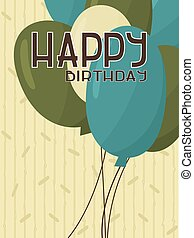 Yellow cute happy birthday card with blue, green balloons